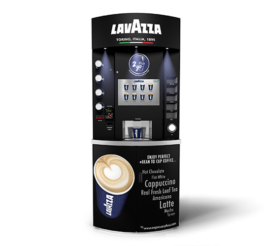 eXpresso PLUS Lavazza Eleganza Bean to Cup Coffee Vending Machine Black Front View