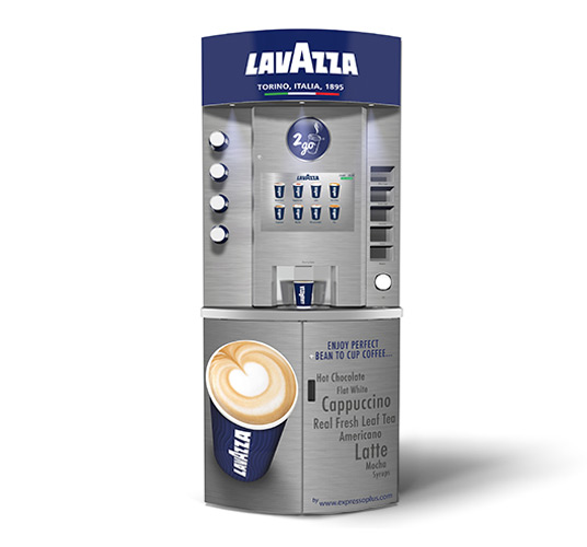 eXpresso PLUS Lavazza Eleganza Bean to Cup Coffee Vending Machine Silver Front View