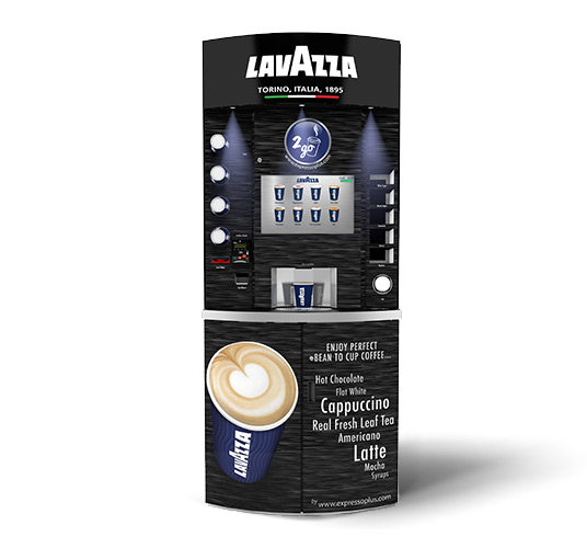 eXpresso PLUS Lavazza Eleganza Bean to Cup Coffee Vending Machine Black Textured Front View
