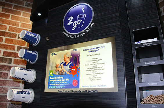 Media Display on commercial coffee machine for health industry