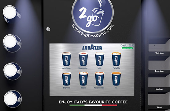 Wide selection of hot drinks on retail coffee machine